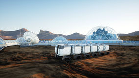 Mars expedition transport, mars rover. Base on alien planet. 3d rendering. Stock Photography