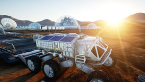 Mars expedition transport, mars rover. Base on alien planet. 3d rendering. Royalty Free Stock Image