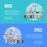 Mars exploration flyers with research rovers. Robotic space autonomous vehicles for planet discovery and colonization. Mars rover with camera, wheels, antenna Royalty Free Stock Photography