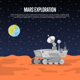 Mars exploration poster with research rover. On surface of red planet. Robotic autonomous vehicles for space discovery. Mars rover with camera, wheels, antenna stock illustration