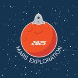 Mars Exploration vector cartoon poster Stock Photography