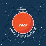 Mars Exploration vector cartoon poster Stock Image