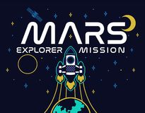 Mars explorent la copie de mission illustration stock