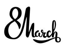 8 mars expression moderne bouclée de lettrage sur un fond blanc Photos libres de droits