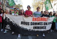 Mars för klimatet - ekologisk demonstration Paris Frankrike lördag, September 08., 2018 royaltyfri fotografi