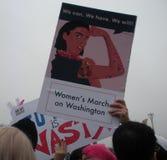 Mars för kvinna` s, kan vi göra den! , Kan vi, oss har, oss skallr, unika tecken och affischer, inte min president, Washington, D Royaltyfria Foton