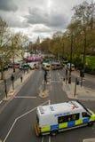 Mars för poliseskortprotest - London Arkivbilder