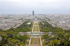 Mars field and the Montparnasse building from aerial view in Paris Royalty Free Stock Photography