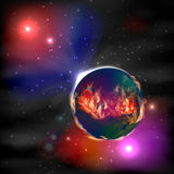 Mars. fiery planet in space. Illustration. Stock Photo