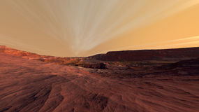 Mars Fractured Rocky Landscape Stock Image