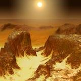 Mars góry powierzchni sceneria ilustracji