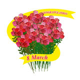8 mars Grand bouquet des roses Ruban de vacances Illustrati de vecteur Image libre de droits