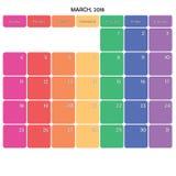 mars 2018 grands jours de la semaine de couleur de l'espace de note de planificateur sur le blanc Photos libres de droits