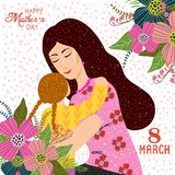 8 mars Gullig tecknad filmmoder, dotter och klotterblommor på en vit bakgrund Denna är mappen av formatet EPS8 vektor illustrationer
