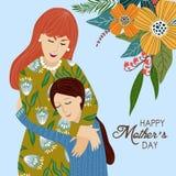 8 mars Gullig tecknad filmmoder och dotter med klotterblommor på en blå bakgrund vektor royaltyfri illustrationer