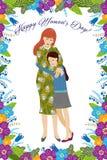 8 mars Gullig tecknad filmmoder och dotter med klotterblommor på en vit bakgrund Vertikal vektor stock illustrationer