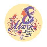 8 mars Härligt runt symbol av dagen för kvinna` s