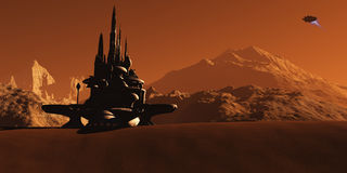 Mars Habitat. A future colony based on Mars, the red planet, waits as an incoming star-ship comes in for a landing Stock Photo