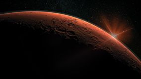 Mars high resolution image. Mars is a planet of the solar system. Sunrise with lens flare. Elements of this image furnished by NASA stock illustration