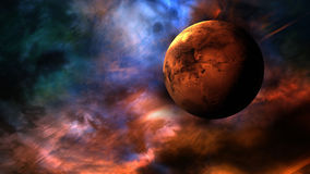Mars. Highly detailed rendering of planet Mars with colorful and unique nebula cloud background. Ideal for motion graphics and matte painting backgrounds for Stock Image