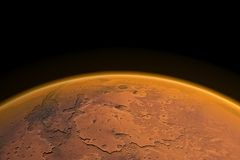 Mars Horizon. Render. Mars horizon with Mars channels and visible Mars atmosphere. Render Stock Photos