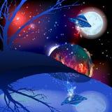 Mars i księżyc przestrzeni UFO ilustracja royalty ilustracja