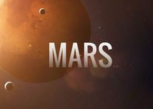 Mars inspiring inscription on the background of. Lettering on the background of the Mars. Elements of this image furnished by NASA Royalty Free Stock Photography