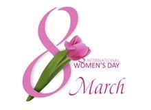8 mars Internationell dag för kvinna` s Lycklig dag för kvinna` s Fjädra blomman, rosa härlig tulpan med nummer 8 vektor stock illustrationer