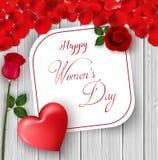 8 mars Internationellt lyckligt kort för hälsning för dag för kvinna` s Blommarosor Röd hjärta Vitbokutrymme för text Röd petal W stock illustrationer