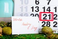 21 mars jour de poésie du monde sur le calendrier Photos libres de droits