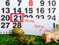 21 mars jour de poésie du monde sur le calendrier Photo libre de droits