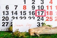 17 mars jour de sommeil du monde, rêve sur le calendrier Photo stock
