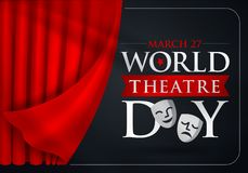 27 mars, jour de théâtre du monde, carte de voeux de concept, avec des rideaux et la scène avec v rouge illustration de vecteur