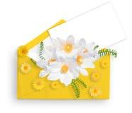8 mars Jour international du ` s de femme Rose, pétales et cadeau de rose Configuration plate Photo libre de droits