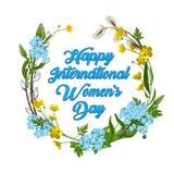 8 mars, jour international heureux des femmes s Carte de voeux illustration stock