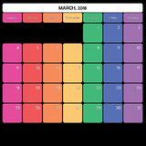 mars 2018 jours de la semaine spécifiques de couleur du grand espace de note de planificateur Image libre de droits