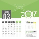 Mars 2017 Kalender 2017 Royaltyfri Foto