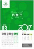 Mars 2017 Kalender 2017 Royaltyfri Fotografi