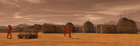 Mars-Kolonie Expedition auf ausländischem Planeten Leben auf Mars Abbildung 3D lizenzfreie abbildung