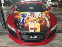 12 mars 2017 Kuala Lumpur Coupé d'Audi R8 à l'aire de stationnement de porche de Ni Sentral Images libres de droits