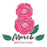 8 mars kvinnor för dag s rosa ro Arkivbild
