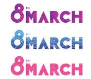 8 mars, kvinnors dag Uppsättning av vektortypografi, textdesign För baner, inbjudningar, gåvor för hälsningkort och annan royaltyfri illustrationer