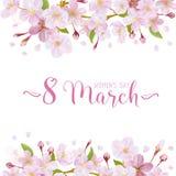 8 mars - kvinnors kort för daghälsning stock illustrationer