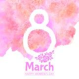 8 mars, kvinnors kort för hälsning för vektor för dagvattenfärg Arkivfoto