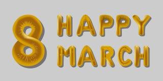 8 mars l'aluminium Baloon marque avec des lettres l'or avec des ombres illustration libre de droits