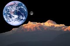 Mars, la terre et lune Photos stock