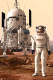 Mars lander and astronaut. 3D render science fiction illustration Stock Photo