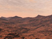 Mars landscape - 3D render Stock Photography