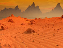 Mars landscape. Sand and rocky surface of planet Mars Royalty Free Stock Image