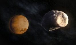 Mars' larger moon Phobos. With visible Stickney crater Stock Photo